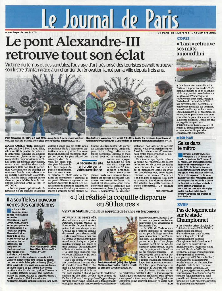 LEPARISIEN - 04112015 - 1ere pageParis